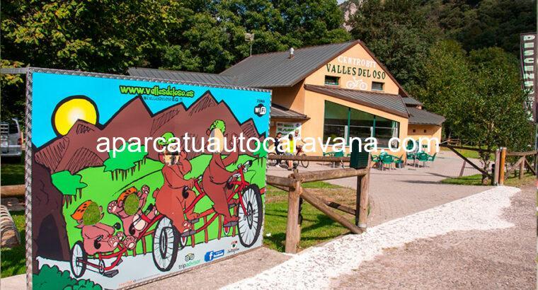 Área autocaravana en Santo Adriano [Tuñón] «Parking de BTT Valles del Oso» en, Asturias